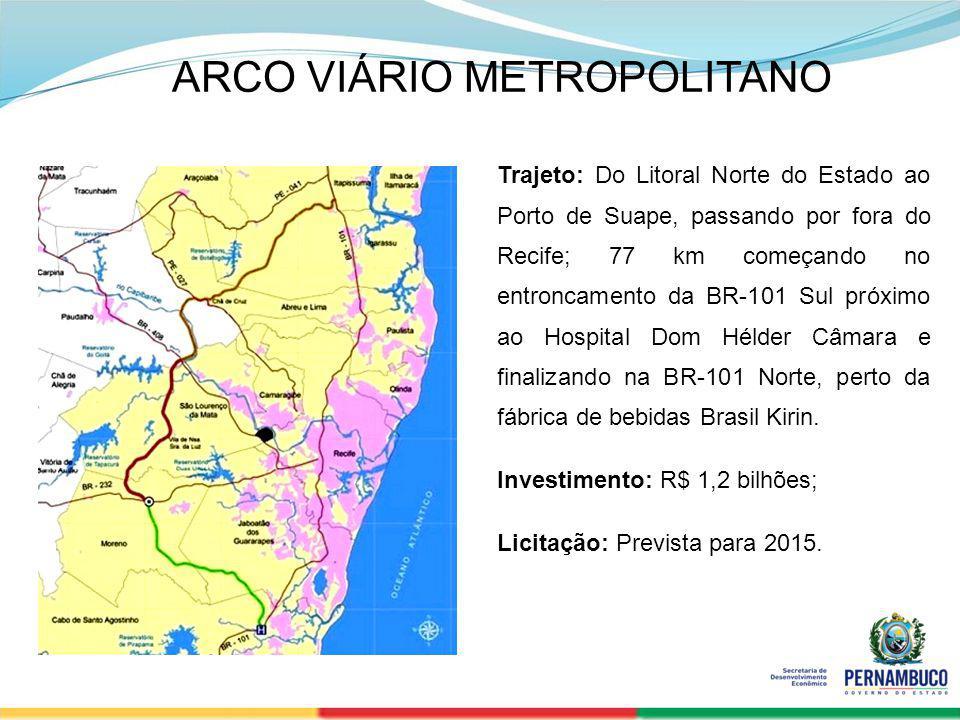 SECRETERIA DE DESENVOLVIMENTO ECONÔMICO 24 Trajeto: Do Litoral Norte do Estado ao Porto de Suape, passando por fora do Recife; 77 km começando no entr