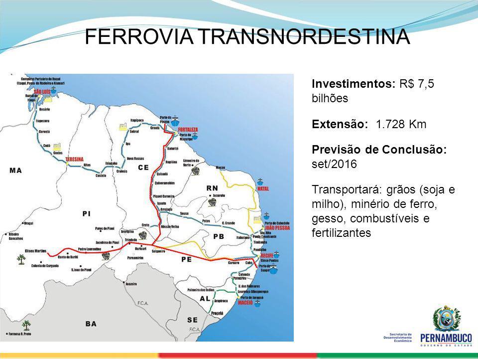 SECRETERIA DE DESENVOLVIMENTO ECONÔMICO 25 Investimentos: R$ 7,5 bilhões Extensão: 1.728 Km Previsão de Conclusão: set/2016 Transportará: grãos (soja