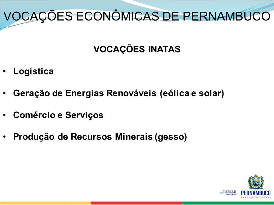 SECRETERIA DE DESENVOLVIMENTO ECONÔMICO 3 VOCAÇÕES ECONÔMICAS DE PERNAMBUCO VOCAÇÕES INATAS Logística Geração de Energias Renováveis (eólica e solar)
