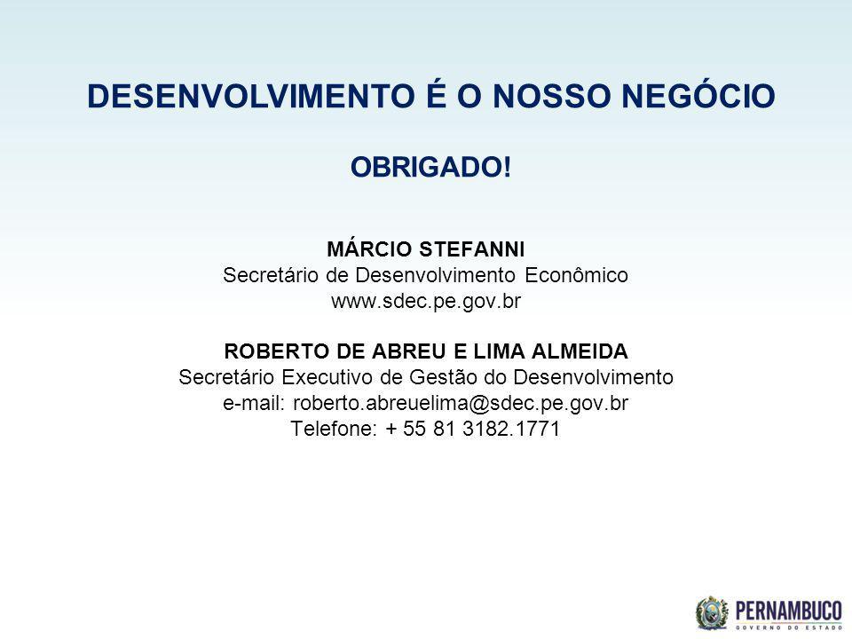 SECRETERIA DE DESENVOLVIMENTO ECONÔMICO MÁRCIO STEFANNI Secretário de Desenvolvimento Econômico www.sdec.pe.gov.br ROBERTO DE ABREU E LIMA ALMEIDA Sec