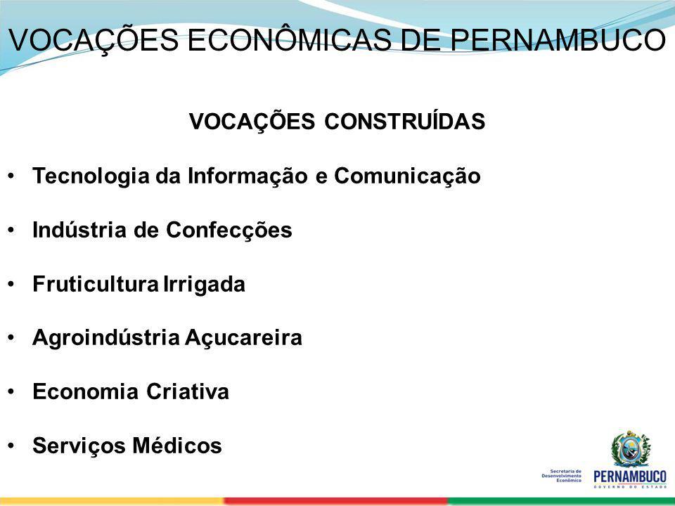SECRETERIA DE DESENVOLVIMENTO ECONÔMICO 4 VOCAÇÕES ECONÔMICAS DE PERNAMBUCO VOCAÇÕES CONSTRUÍDAS Tecnologia da Informação e Comunicação Indústria de C