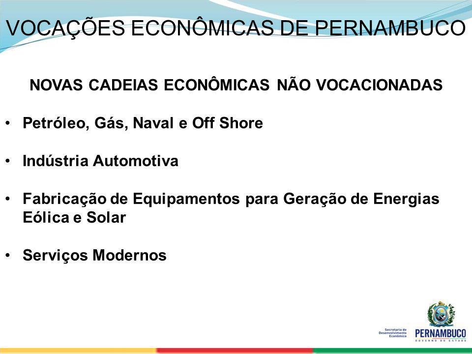 SECRETERIA DE DESENVOLVIMENTO ECONÔMICO 5 VOCAÇÕES ECONÔMICAS DE PERNAMBUCO NOVAS CADEIAS ECONÔMICAS NÃO VOCACIONADAS Petróleo, Gás, Naval e Off Shore