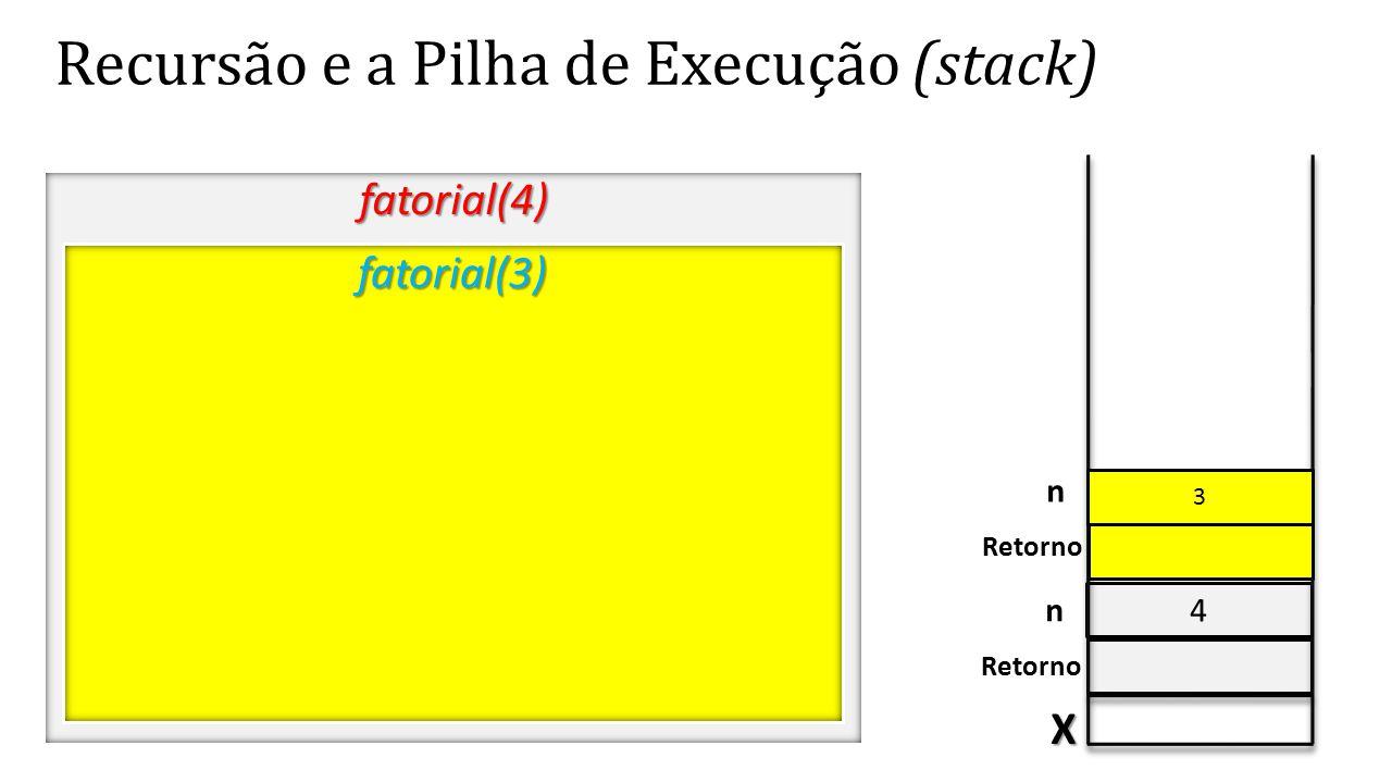 4 Recursão e a Pilha de Execução (stack) fatorial(4) X Retorno n fatorial(3) 3 n