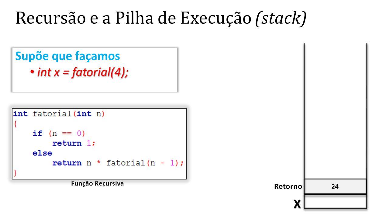 24 Recursão e a Pilha de Execução (stack) X Retorno Supõe que façamos int x = fatorial(4); int x = fatorial(4); Função Recursiva