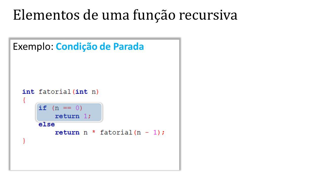 Exemplo: Condição de Parada Elementos de uma função recursiva