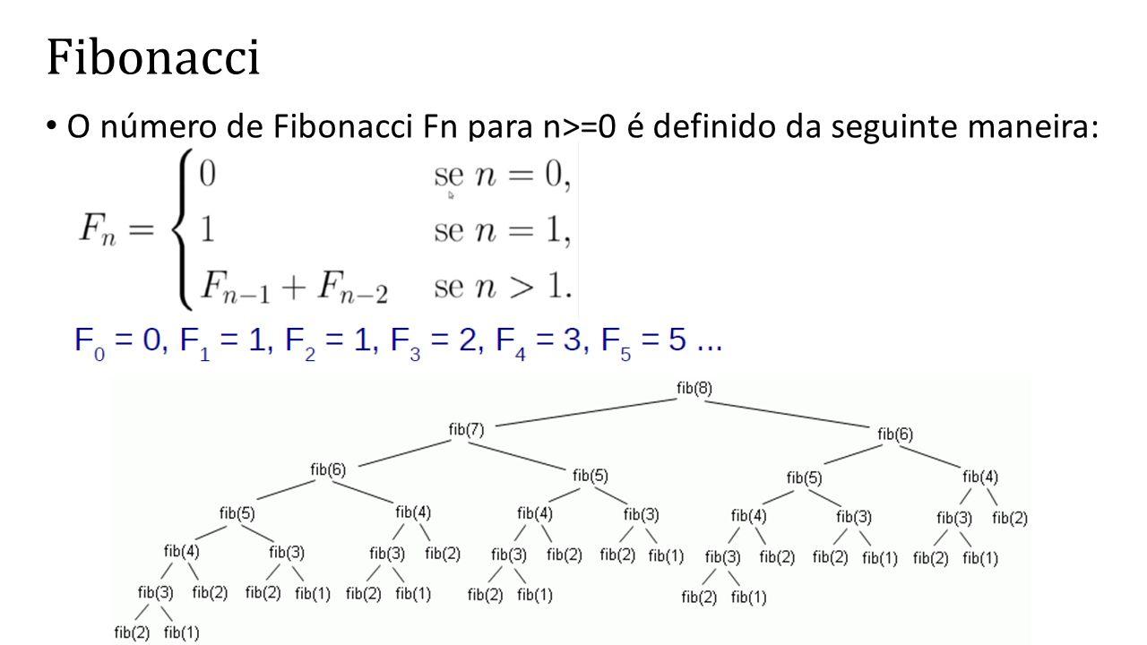 Fibonacci O número de Fibonacci Fn para n>=0 é definido da seguinte maneira: