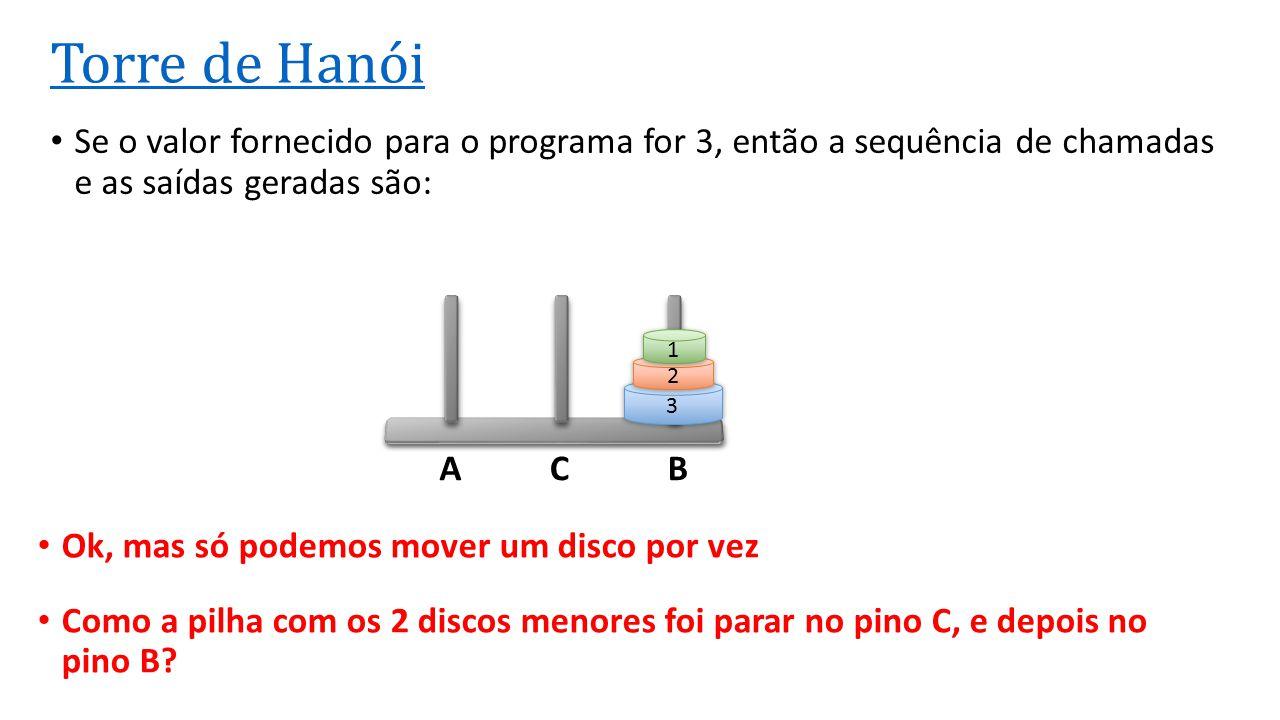 ACB Torre de Hanói Se o valor fornecido para o programa for 3, então a sequência de chamadas e as saídas geradas são: 3 2 1 Ok, mas só podemos mover u