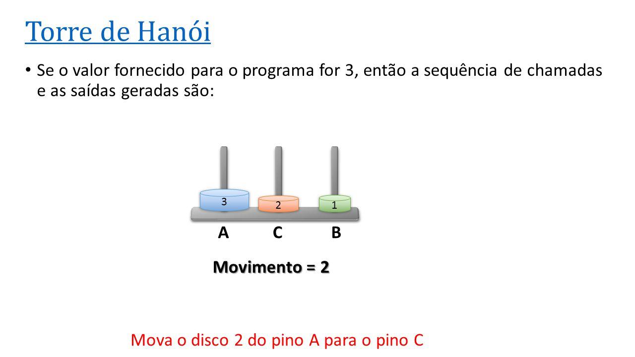 ACB Torre de Hanói Se o valor fornecido para o programa for 3, então a sequência de chamadas e as saídas geradas são: 3 2 1 Movimento = 2 Mova o disco
