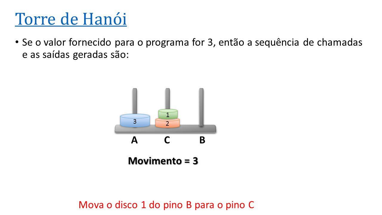ACB Torre de Hanói Se o valor fornecido para o programa for 3, então a sequência de chamadas e as saídas geradas são: 3 2 1 Movimento = 3 Mova o disco
