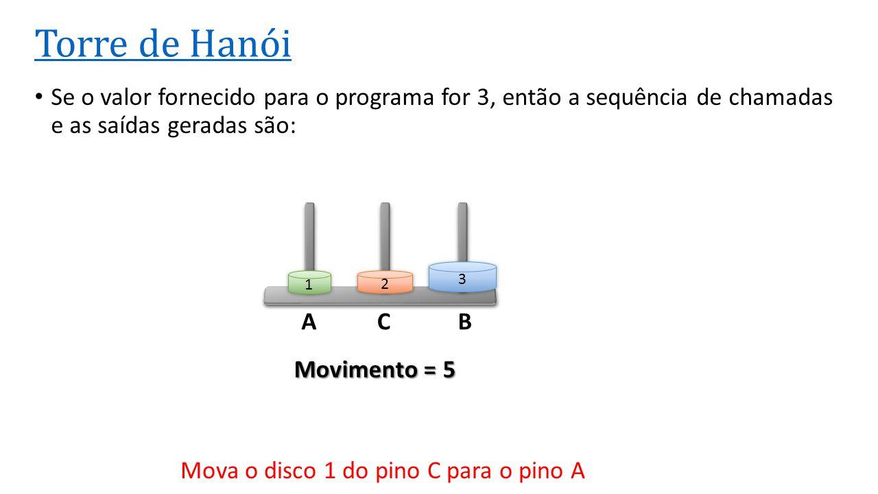ACB Torre de Hanói Se o valor fornecido para o programa for 3, então a sequência de chamadas e as saídas geradas são: 3 2 1 Movimento = 5 Mova o disco