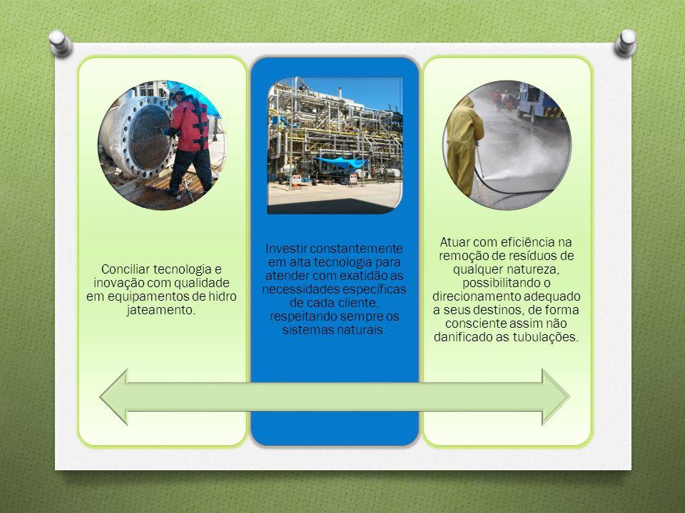 Conciliar tecnologia e inovação com qualidade em equipamentos de hidro jateamento. Investir constantemente em alta tecnologia para atender com exatidã