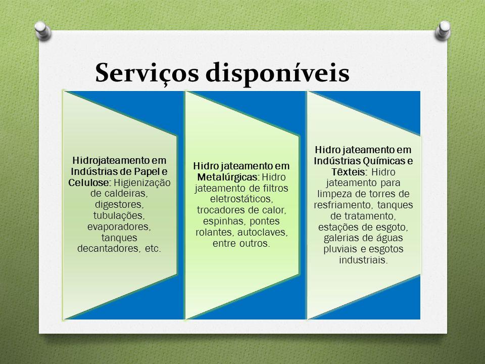 Serviços disponíveis Hidrojateamento em Indústrias de Papel e Celulose: Higienização de caldeiras, digestores, tubulações, evaporadores, tanques decan