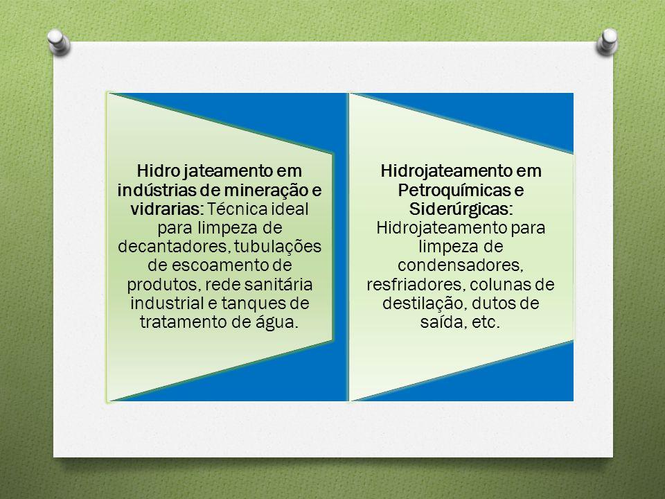 Hidro jateamento em indústrias de mineração e vidrarias: Técnica ideal para limpeza de decantadores, tubulações de escoamento de produtos, rede sanitá