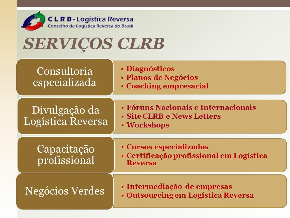 SERVIÇOS CLRB Fóruns Nacionais e Internacionais Site CLRB e News Letters Workshops Divulgação da Logística Reversa Cursos especializados Certificação