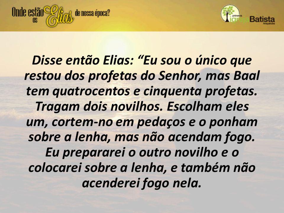 """Disse então Elias: """"Eu sou o único que restou dos profetas do Senhor, mas Baal tem quatrocentos e cinquenta profetas. Tragam dois novilhos. Escolham e"""