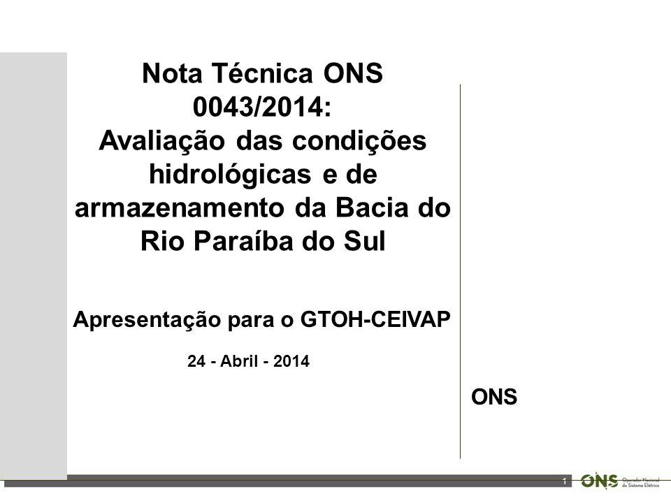 1 Nota Técnica ONS 0043/2014: Avaliação das condições hidrológicas e de armazenamento da Bacia do Rio Paraíba do Sul Apresentação para o GTOH-CEIVAP 24 - Abril - 2014 ONS