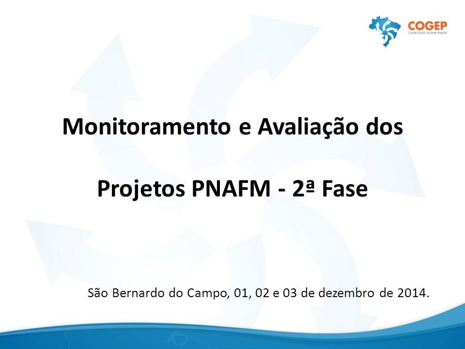 Monitoramento e Avaliação dos Projetos PNAFM - 2ª Fase São Bernardo do Campo, 01, 02 e 03 de dezembro de 2014.