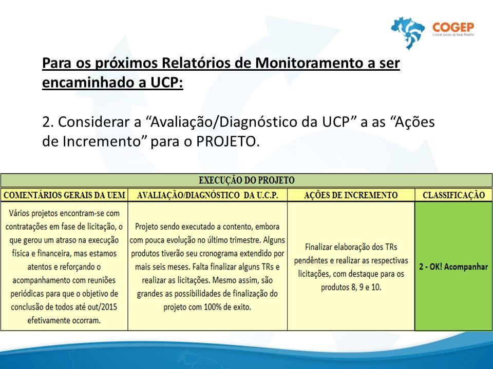 """Para os próximos Relatórios de Monitoramento a ser encaminhado a UCP: 2. Considerar a """"Avaliação/Diagnóstico da UCP"""" a as """"Ações de Incremento"""" para o"""
