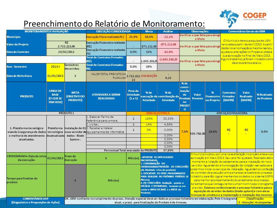 Preenchimento do Relatório de Monitoramento: MONITORAMENTO E AVALIAÇÃOEXECUÇÃO CONSOLIDADAMetaAnáliseObservaçõesComentários Gerais da UEM Município Ex