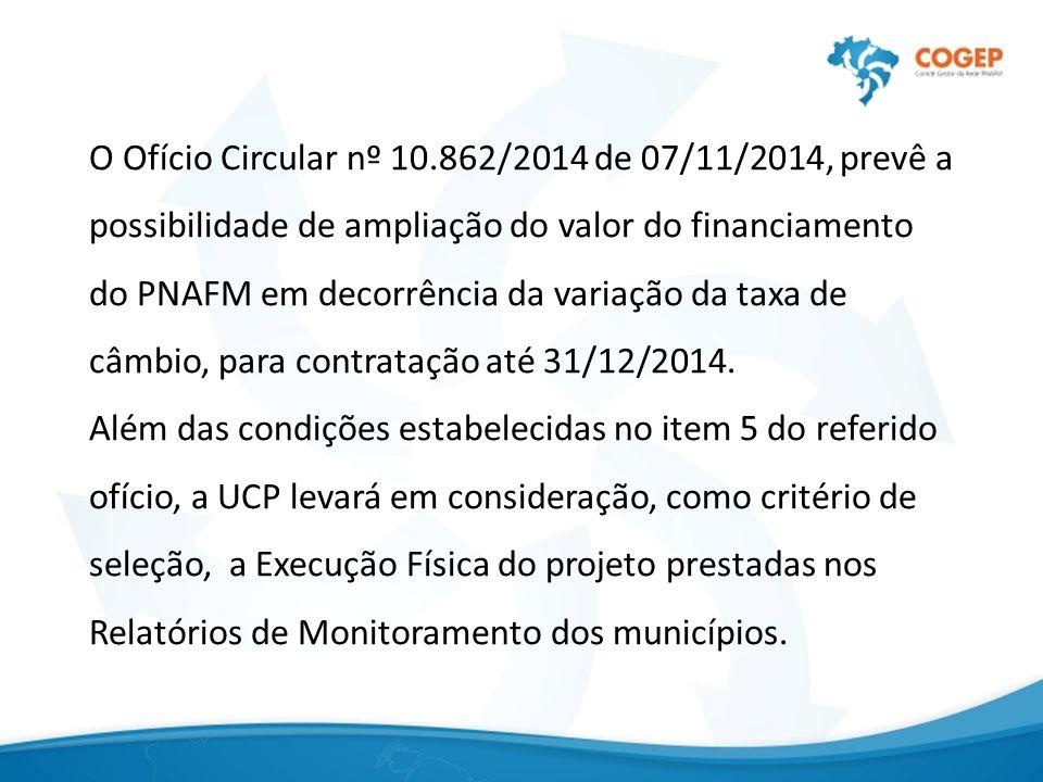O Ofício Circular nº 10.862/2014 de 07/11/2014, prevê a possibilidade de ampliação do valor do financiamento do PNAFM em decorrência da variação da ta