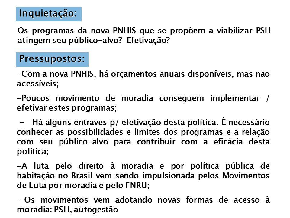 Inquietação: Os programas da nova PNHIS que se propõem a viabilizar PSH atingem seu público-alvo.
