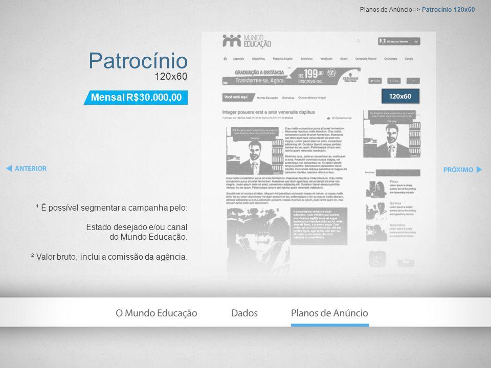 Patrocínio 120x60 ¹ É possível segmentar a campanha pelo: Estado desejado e/ou canal do Mundo Educação.