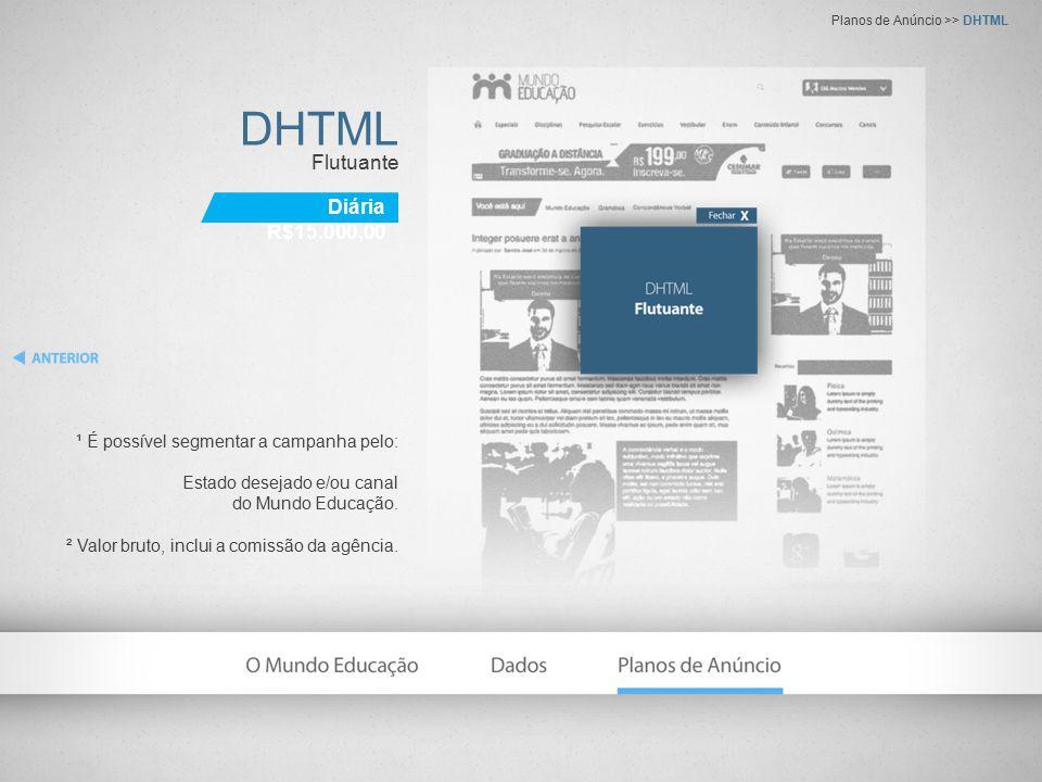 DHTML Flutuante ¹ É possível segmentar a campanha pelo: Estado desejado e/ou canal do Mundo Educação. ² Valor bruto, inclui a comissão da agência. Pla