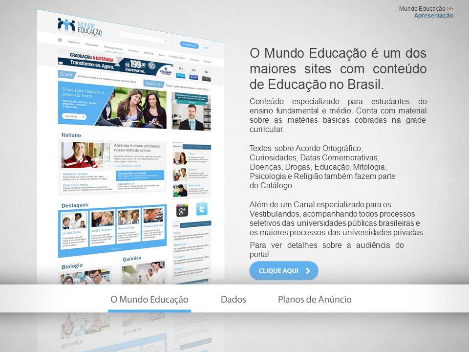 Dados >> Page Views e Visitantes Únicos / Mundo Educação Traz conteúdos abordados em sala de aula e que integram a grade curricular de níveis fundamental e médio.