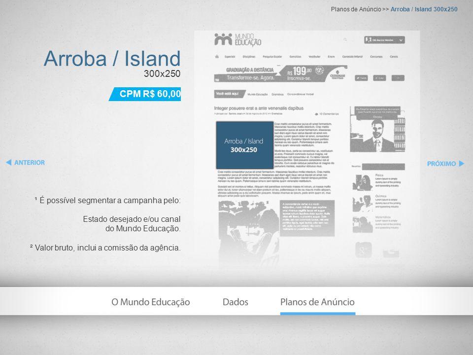 Arroba / Island 300x250 ¹ É possível segmentar a campanha pelo: Estado desejado e/ou canal do Mundo Educação.