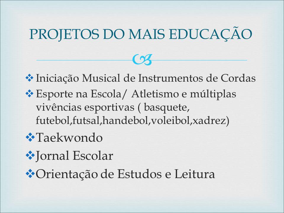  PROJETOS DO MAIS EDUCAÇÃO  Iniciação Musical de Instrumentos de Cordas  Esporte na Escola/ Atletismo e múltiplas vivências esportivas ( basquete,