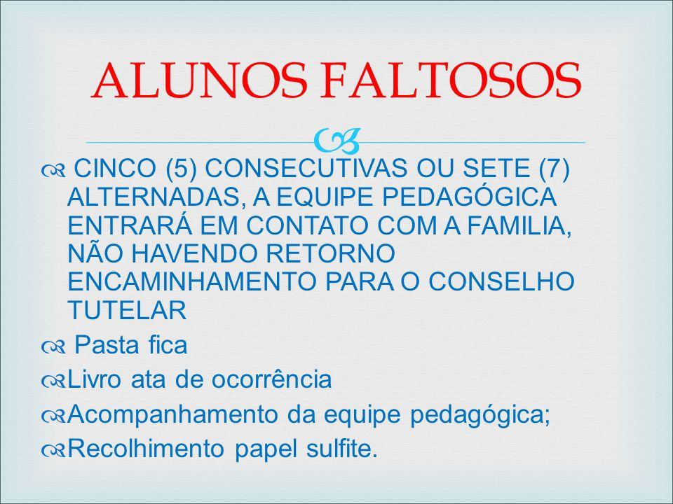   CINCO (5) CONSECUTIVAS OU SETE (7) ALTERNADAS, A EQUIPE PEDAGÓGICA ENTRARÁ EM CONTATO COM A FAMILIA, NÃO HAVENDO RETORNO ENCAMINHAMENTO PARA O CON