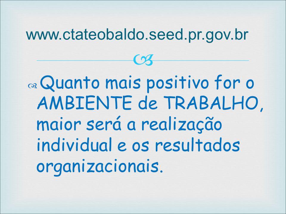  www.ctateobaldo.seed.pr.gov.br  Quanto mais positivo for o AMBIENTE de TRABALHO, maior será a realização individual e os resultados organizacionais