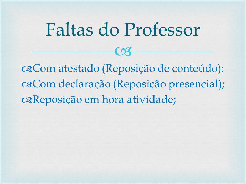   Com atestado (Reposição de conteúdo);  Com declaração (Reposição presencial);  Reposição em hora atividade; Faltas do Professor
