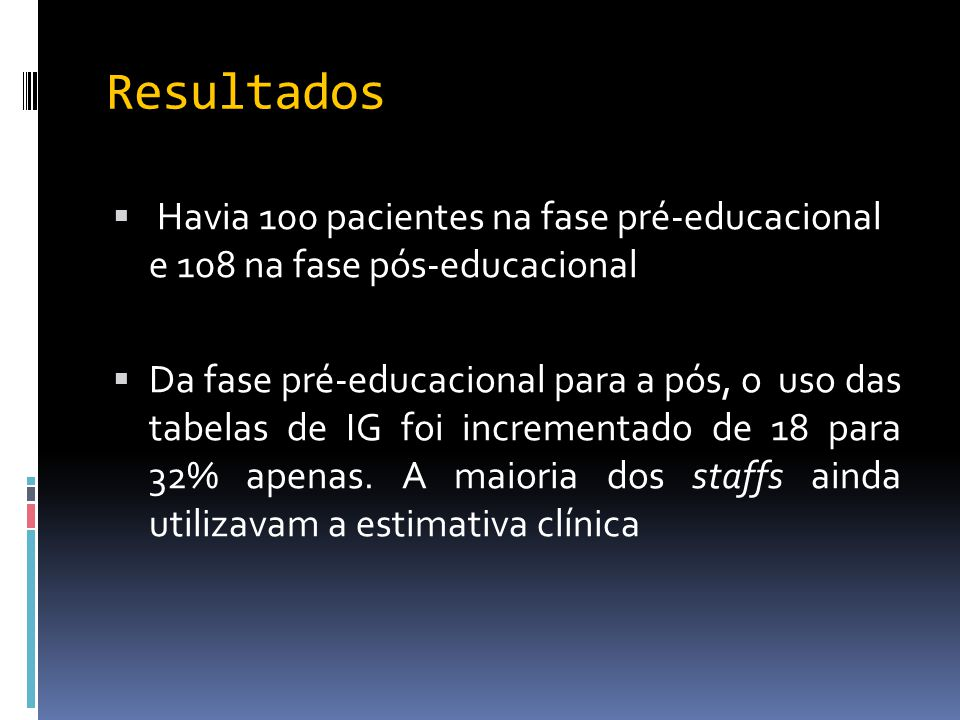 Resultados  Havia 100 pacientes na fase pré-educacional e 108 na fase pós-educacional  Da fase pré-educacional para a pós, o uso das tabelas de IG f