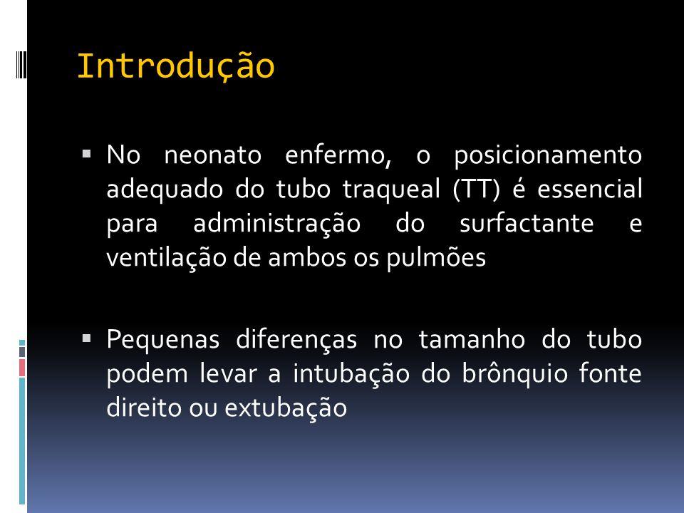 Introdução  No neonato enfermo, o posicionamento adequado do tubo traqueal (TT) é essencial para administração do surfactante e ventilação de ambos o