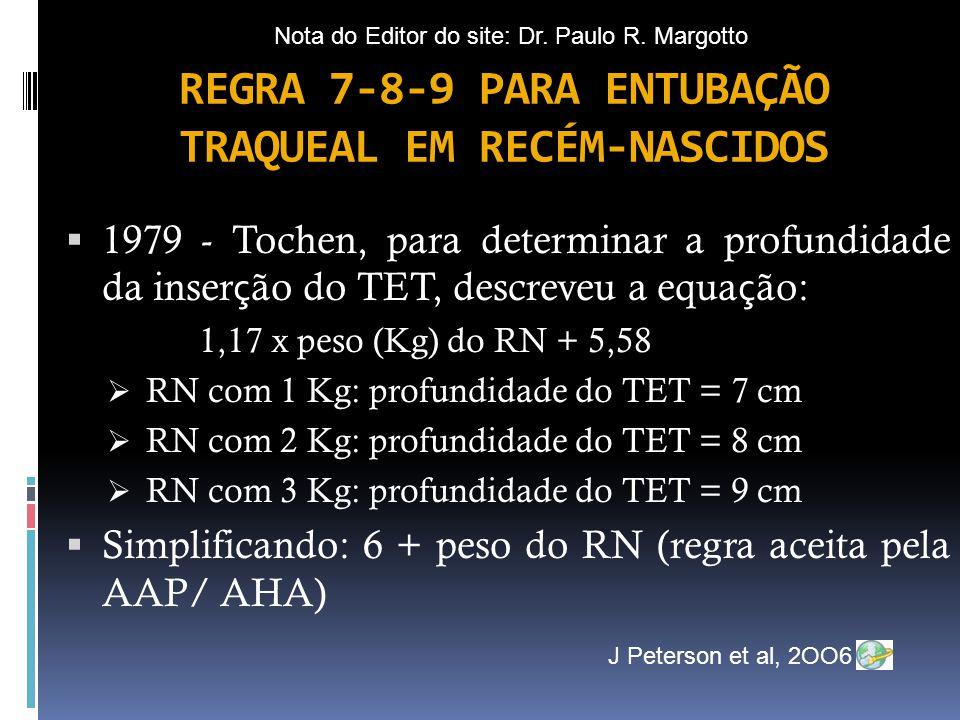  1979 - Tochen, para determinar a profundidade da inser ç ão do TET, descreveu a equa ç ão: 1,17 x peso (Kg) do RN + 5,58  RN com 1 Kg: profundidade