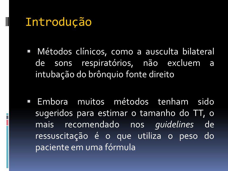 Introdução  Métodos clínicos, como a ausculta bilateral de sons respiratórios, não excluem a intubação do brônquio fonte direito  Embora muitos méto