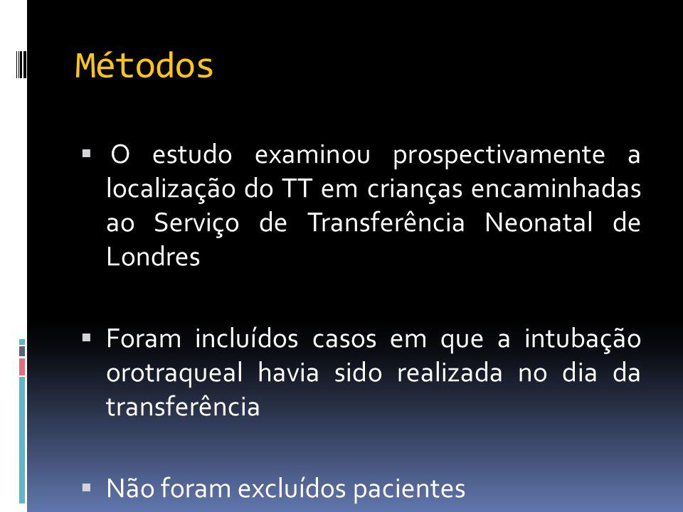 Métodos  O estudo examinou prospectivamente a localização do TT em crianças encaminhadas ao Serviço de Transferência Neonatal de Londres  Foram incl