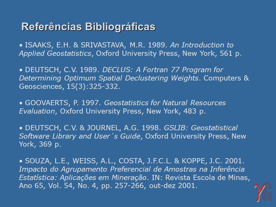 Referências Bibliográficas ISAAKS, E.H. & SRIVASTAVA, M.R. 1989. An Introduction to Applied Geostatistics, Oxford University Press, New York, 561 p. D