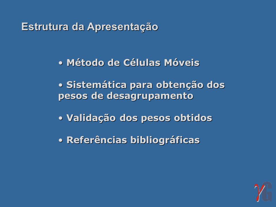 Método de Células Móveis Método de Células Móveis Sistemática para obtenção dos pesos de desagrupamento Sistemática para obtenção dos pesos de desagru