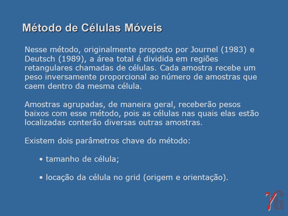 Nesse método, originalmente proposto por Journel (1983) e Deutsch (1989), a área total é dividida em regiões retangulares chamadas de células. Cada am