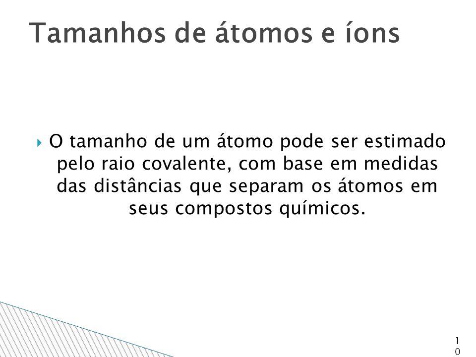  O tamanho de um átomo pode ser estimado pelo raio covalente, com base em medidas das distâncias que separam os átomos em seus compostos químicos.
