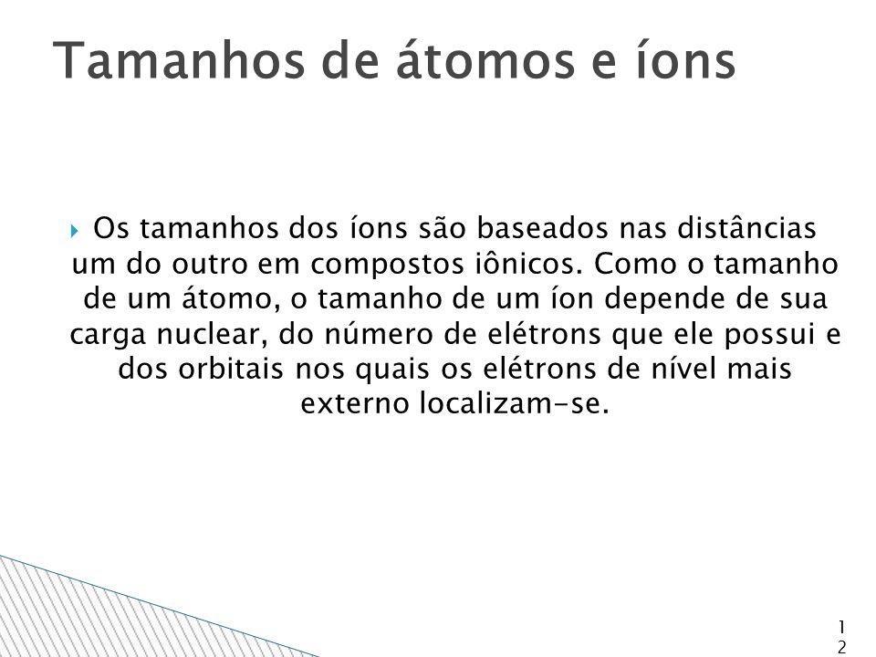  Os tamanhos dos íons são baseados nas distâncias um do outro em compostos iônicos.