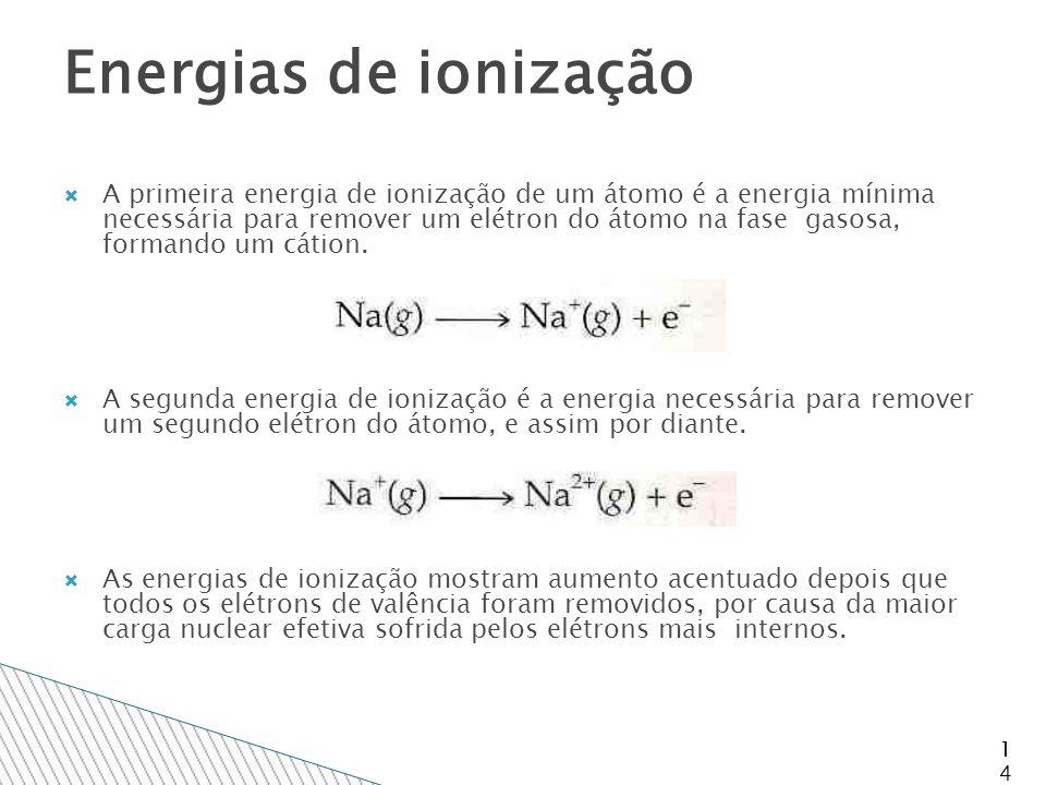 14 Energias de ionização  A primeira energia de ionização de um átomo é a energia mínima necessária para remover um elétron do átomo na fase gasosa, formando um cátion.