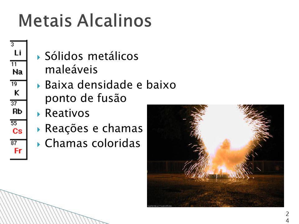  Sólidos metálicos maleáveis  Baixa densidade e baixo ponto de fusão  Reativos  Reações e chamas  Chamas coloridas 24 Metais Alcalinos