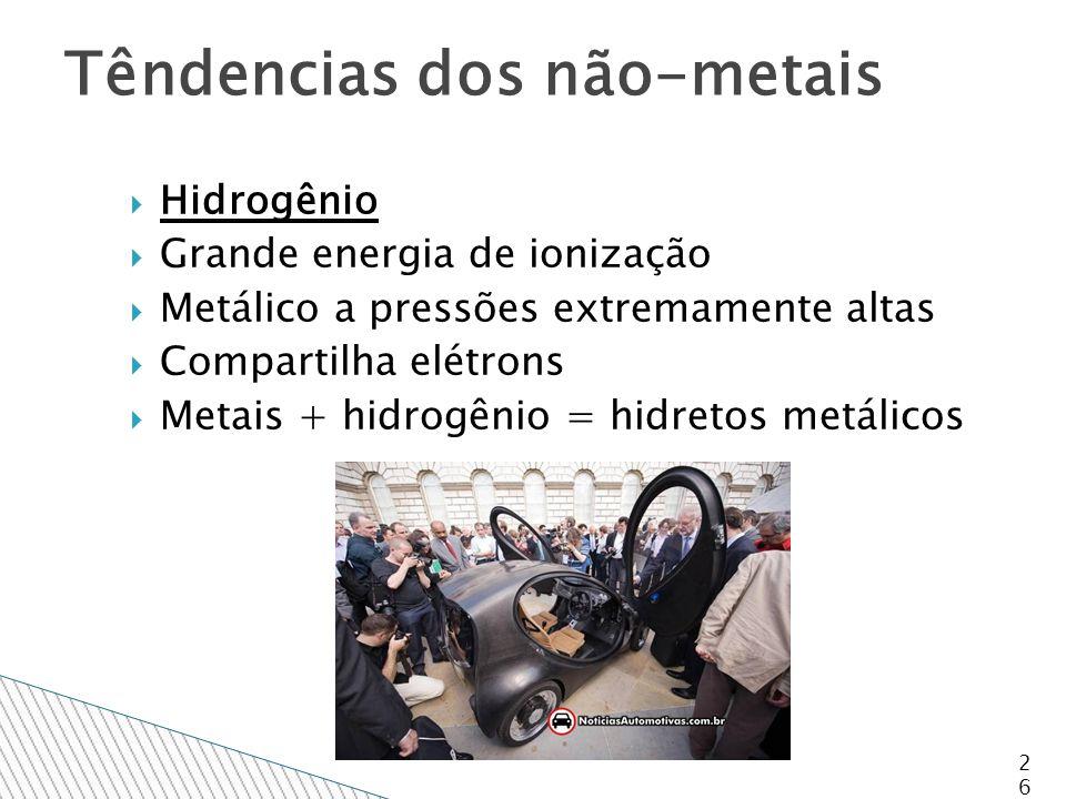 Hidrogênio  Grande energia de ionização  Metálico a pressões extremamente altas  Compartilha elétrons  Metais + hidrogênio = hidretos metálicos 26 Têndencias dos não-metais