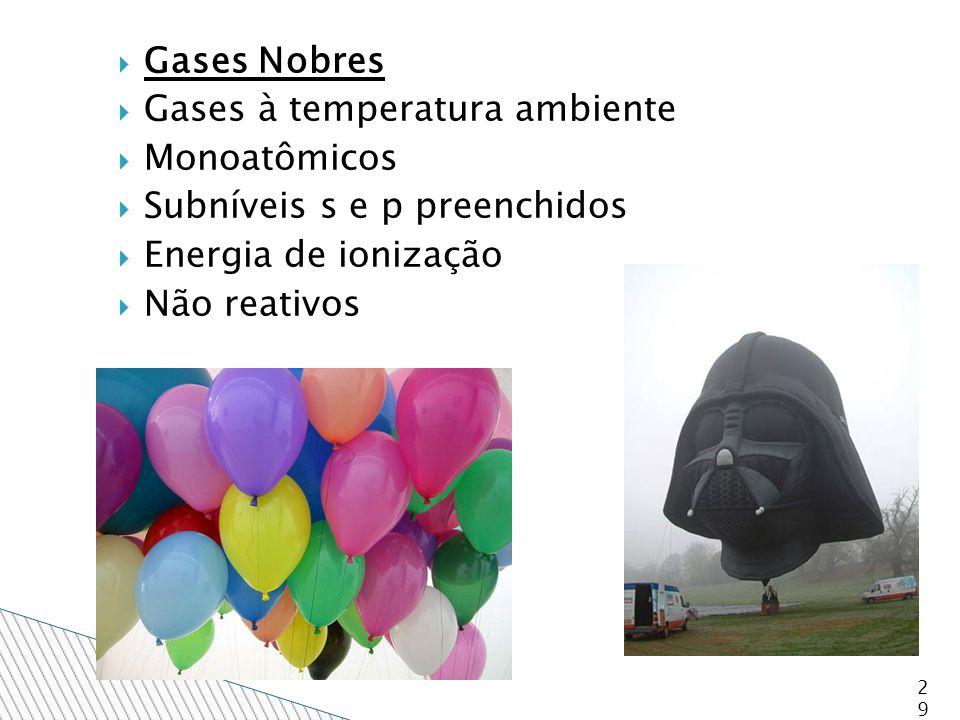  Gases Nobres  Gases à temperatura ambiente  Monoatômicos  Subníveis s e p preenchidos  Energia de ionização  Não reativos 29