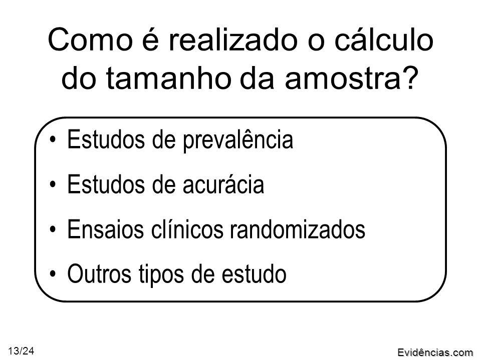 Evidências.com 13/24 Como é realizado o cálculo do tamanho da amostra.