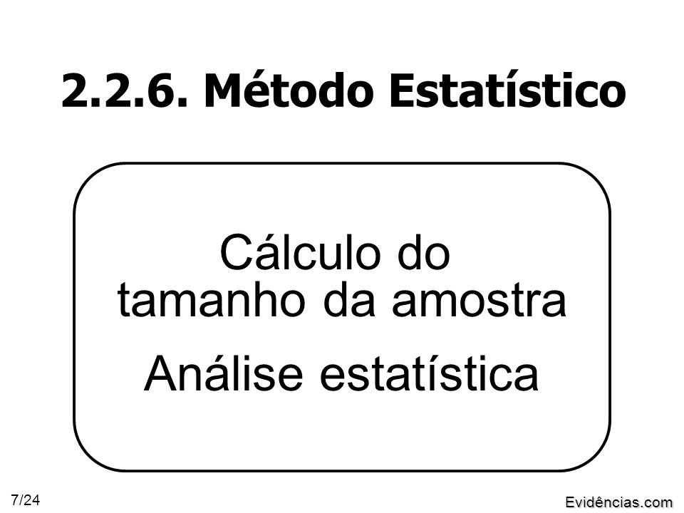 Evidências.com 7/24 2.2.6. Método Estatístico Cálculo do tamanho da amostra Análise estatística