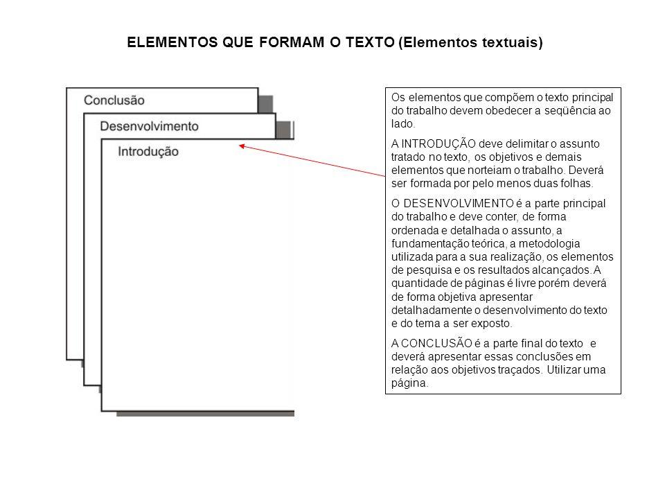 a ELEMENTOS QUE FORMAM O TEXTO (Elementos textuais) Os elementos que compõem o texto principal do trabalho devem obedecer a seqüência ao lado. A INTRO
